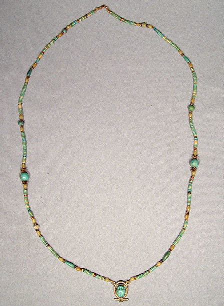 Ancient Egyptian Necklace Scarab & Beads