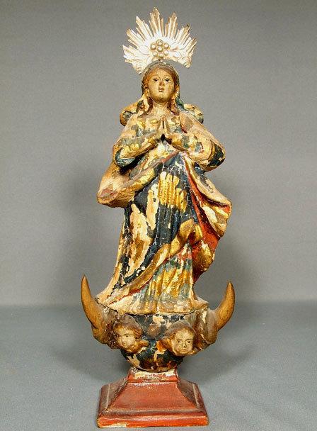 Antique Spanish Colonial Santos Virgin Mary