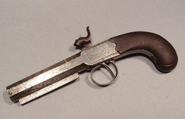 Antique Gun Percussion Pistol by John Evans, 19th Century