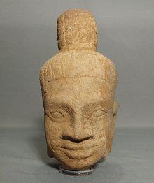 Antique Khmer Head of Divinity, Antique Sandstone Figure