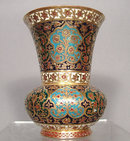 Islamic Indian Mughal Enamelled Gilt Copper Vase