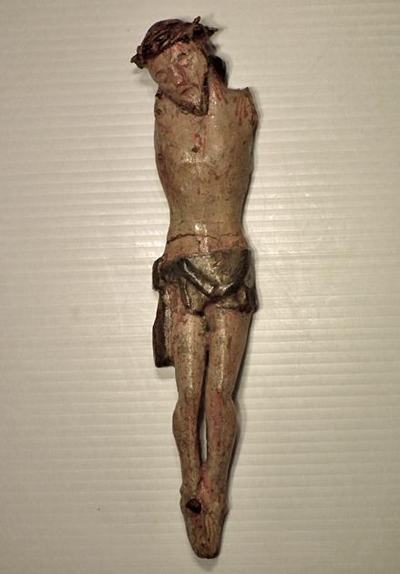 Antique 18th/19th century Spanish Colonial Santos Wood Sculpture Christ Corpus Christi