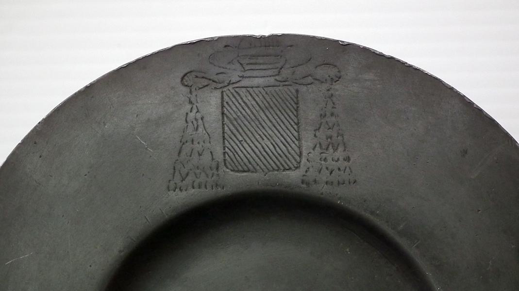 Antique 18th Century Pewter Catholic Church Paten Coat-Of-Arms of Archbishop Jean-Louis Berton des Balbes de Crillon