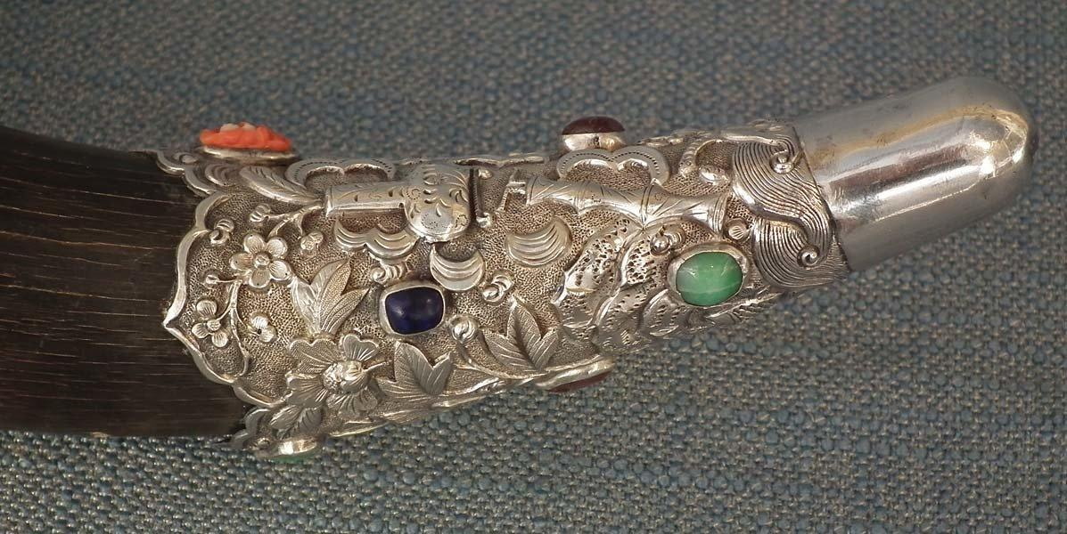 Antique 18th-19th Century Chinese Qing Dynasty Silver Mounted Jeweled Drinking Horn