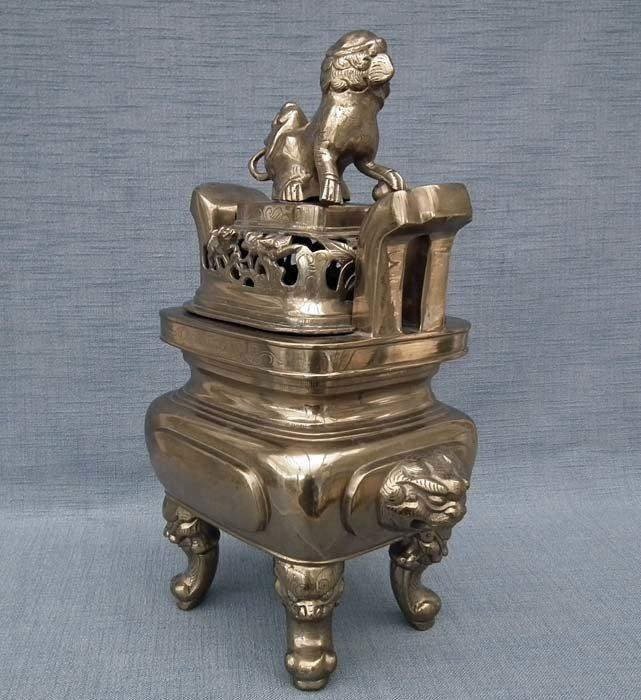 Huge Authentic Antique 19th Century Qing Dynasty Chinese Bronze - Brass Censer Incense Burner