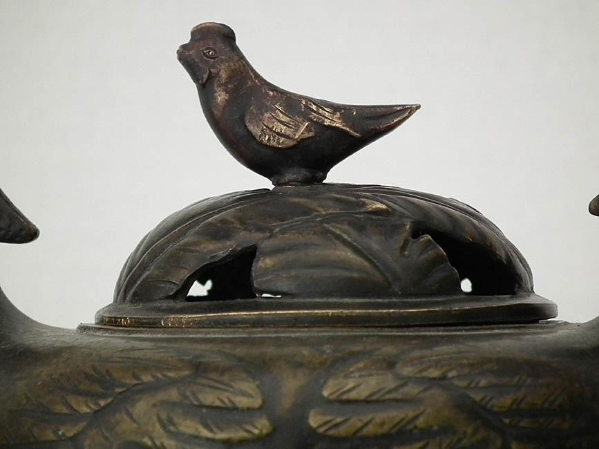 Antique Chinese 17th -19th Century Qing Dynasty Chicken Bronze Incense Burner Censer