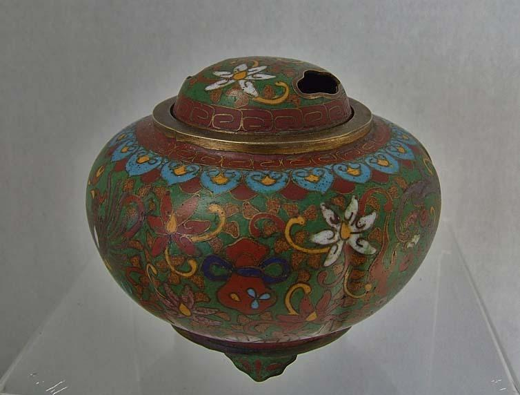 Antique Chinese Qing Dynasty (1644-1911 AD) Cloisonne Censer - Incense Burner