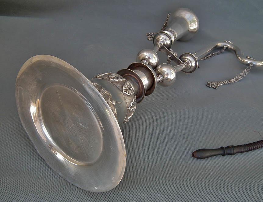Antique 19th Century Sterling Silver Islamic Indo Persian Pipe Huqqa Nargila