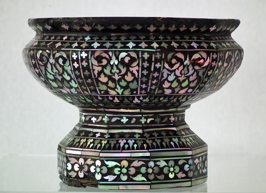 Rare Antique Thai Mother-Of-Pearl Inlaid  Cup Thailand 18th -19th Century