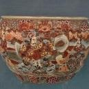 Antique 19th century Meiji Japanese Satsuma Earthenware Large Planter Fish Bowl