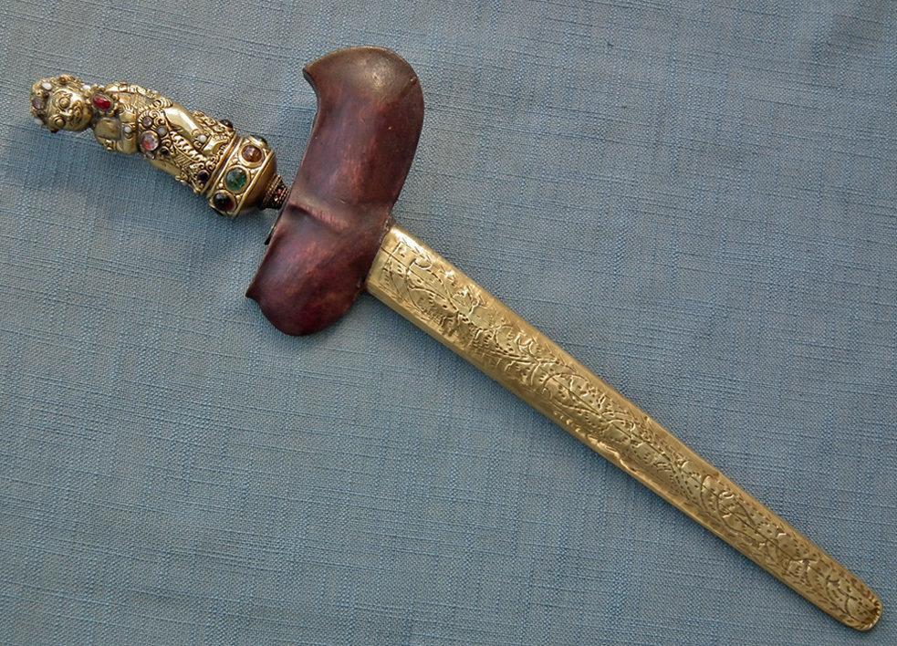 Antique Indonesian Dagger Sword Keris Kris Gold Gilded Bayu Hilt