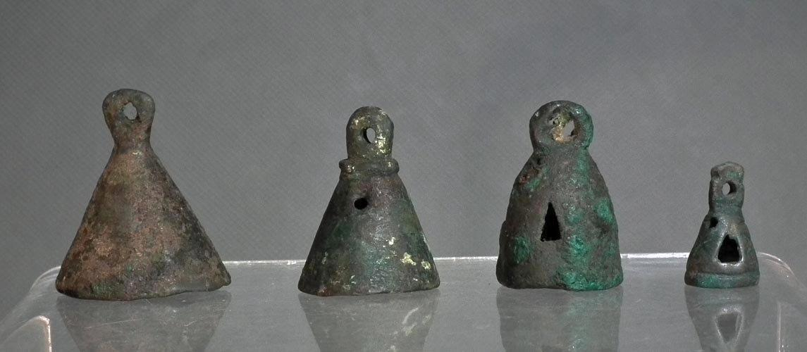 Ancient Bronze Chariot Bells - Pendants Western Asiatic Caspian Sea Region 1000 BC