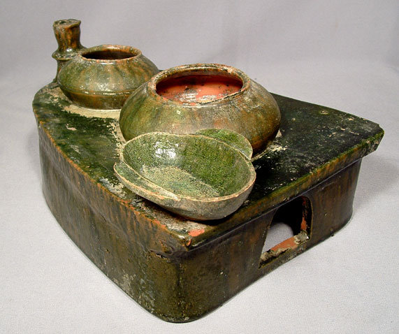 Ancient Chinese Eastern Han Dynasty Ceramic Stove Model