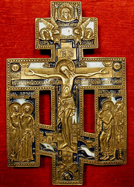 Antique Russian Cross Brass Enamel, 19th century