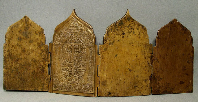 Antique Russian Folded Icon Brass Enamel, 18th Century