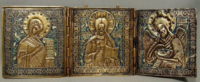 Antique Russian Icon Triptych Brass Enamel, 19th Century