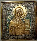 Antique Russian Icon Triptych Brass Enamel, 19th Century