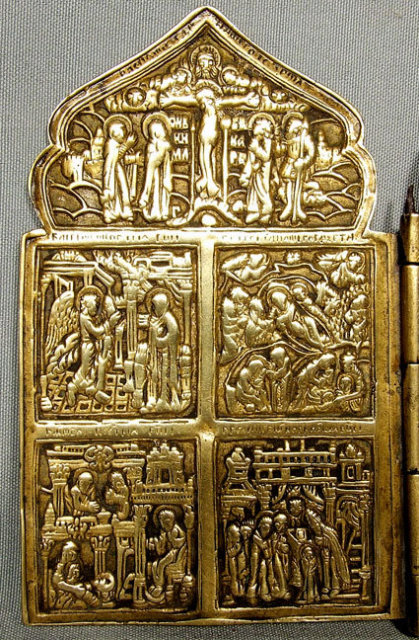 Antique Russian Icon Brass Four Panels, 18th-19th century