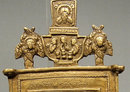 Antique Russian Brass Icon The Nativity of The Virgin