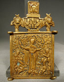 Antique Russian Bronze Icon Virgin The Joy of All That Mourn