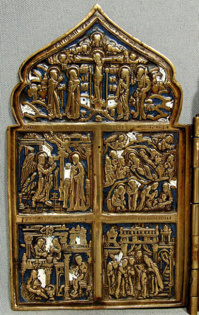 Antique Russian Bronze & Enamel Folded Icon