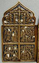 Antique Russian Bronze & Enamel Folded Icon