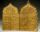 Antique Russian Folded Brass Icon, 18th-19th century