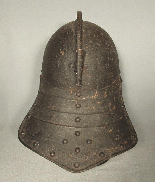 Antique Lobstertail Cromwellian Helmet Armor 17th century