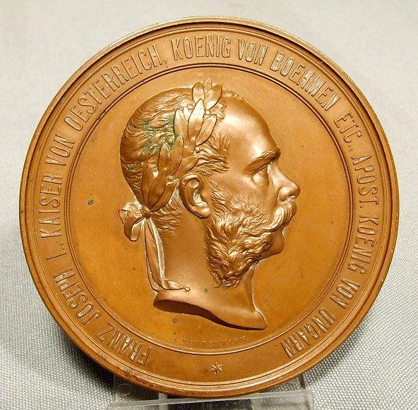 Antique Bronze Medal Vienna World Exposition 1873