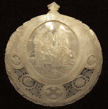 Antique Mother-of-Pearl Jerusalem Icon, 19th century