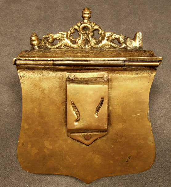 Antique Brass Gun Cartridge Box, 18th century