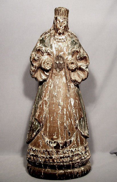 Antique 18th Century Spanish  Sculpture Figure of Virgin
