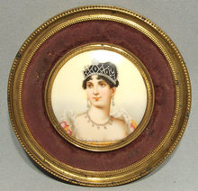 Antique Napoleonic Miniature Portrait Empress Josephine, 19th c
