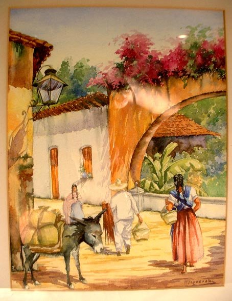 Latin American Watercolor Signed M. Figueras ?