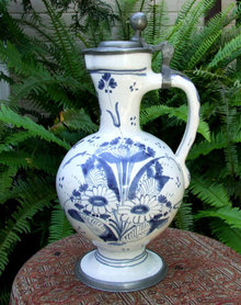 Antique 18th century Hanau German Faience Jug