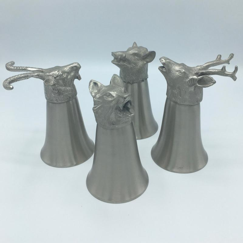 Vintage Set of 4 Animal Head Stirrup Cups Goblets Pewter and Silverplate