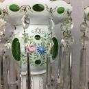 Pair of Bohemian Cut to Green Glass Large Table Lamps with Crystal Prisms