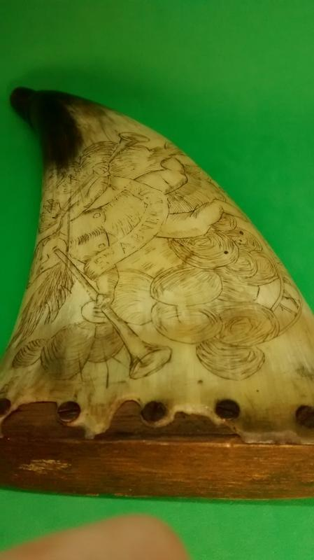 American Revolutionary Powder Horn with Scrimshaw