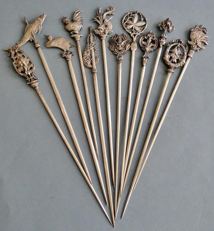 ANTIQUE VERY RARE SET OF 12 CHRISTOFLE SILVER PLATE SKEWERS FIGURAL FRANCE 1880