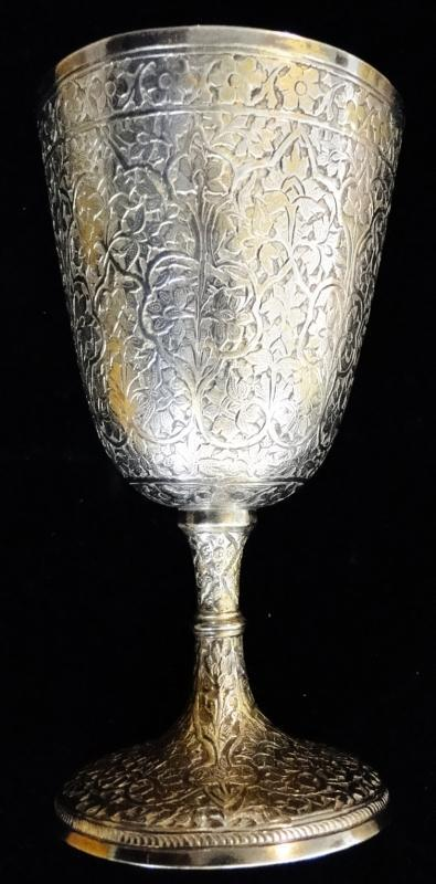 ANTIQUE FINELY DECORATED INDIAN SOLID SILVER GOBLET CUP KASHMIR FLORAL 1870 165g