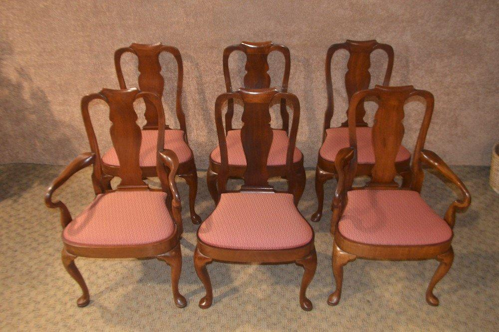 Vintage Solid Mahogany Shaped Queen Anne Dining Chairs - Antiques, Art, Vintage