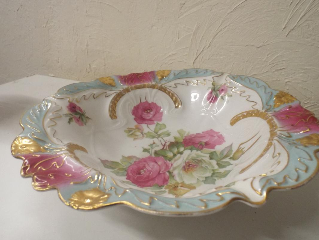 Prussia Pink Roses Large Serving bowl