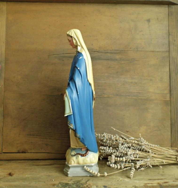 Antique Virgin Mary Madonna Statue Chalkware Plaster Vintage Immaculate Holy Mother Religious Chalkware Figurine Catholic Home Altar Shrine