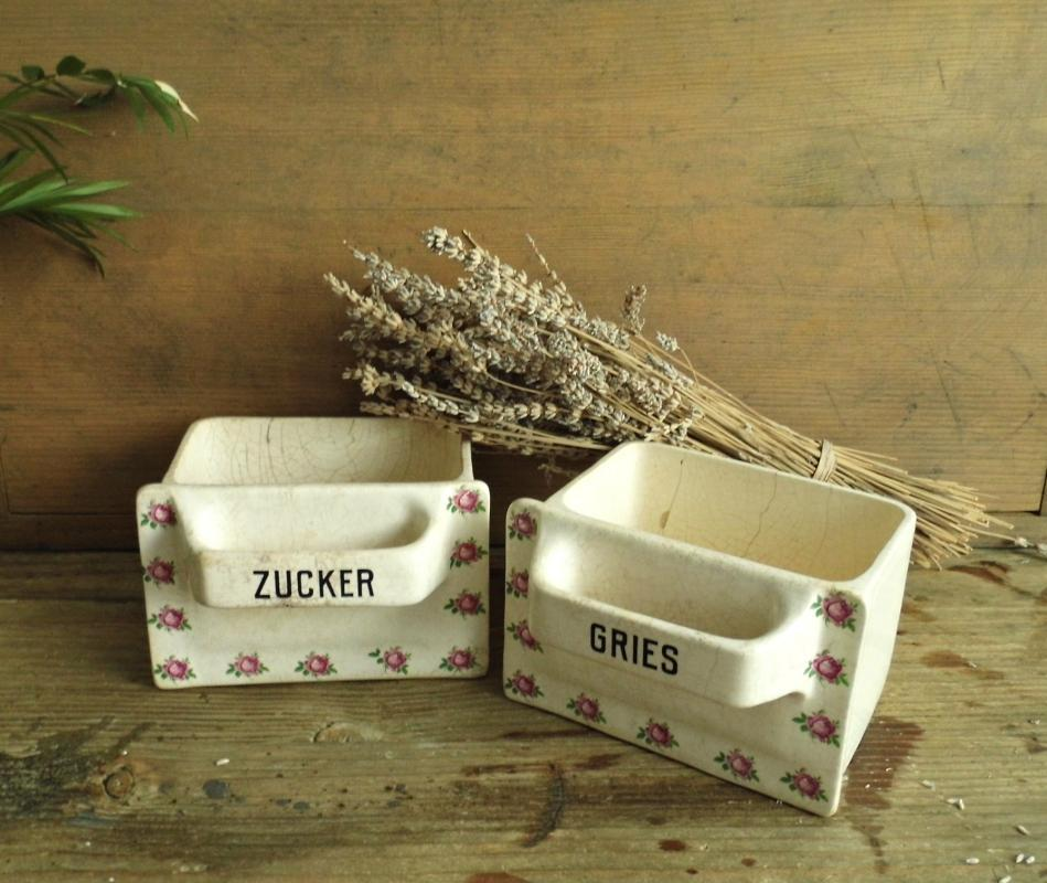 Antique German Drawer Kitchen Container Vintage China Beige Porcelain Kitchen Storage Canister Roses Sugar Flour Storage Shabby Cottage Chic