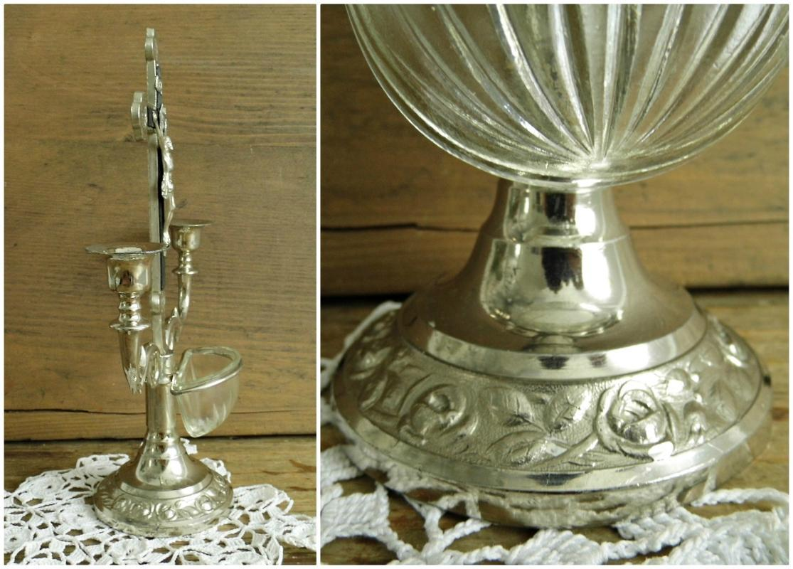 Antique Altar Crucifix Cross Candlestick Standing Metal Jesus Christ Holy Water Font Ornate Silver Vintage Christian Religious Home Shrine