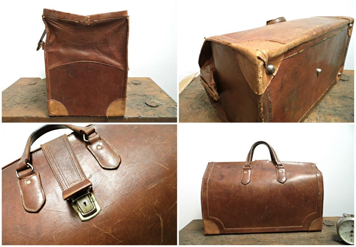Vintage Leather Doctors Bag Saddle Duffle Chestnut Brown Weekend Duffel Travel Retro Luggage Bag Train Case Overnight Bag Weekend Bag Clasp