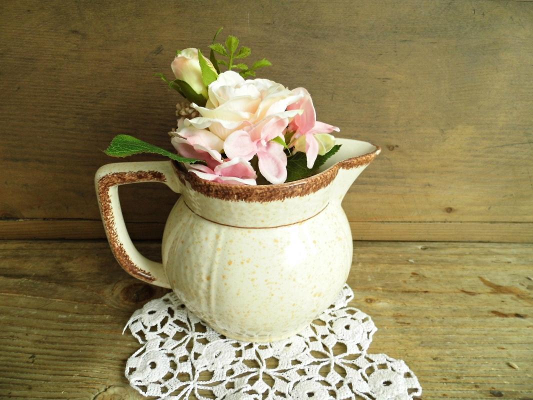 Antique Villeroy Boch Ceramic Pitcher Jar Vase Beige Speckled Hand Painted Glazed Vessel Jug Confit Pot Vintage Earthenware Rustic Stoneware