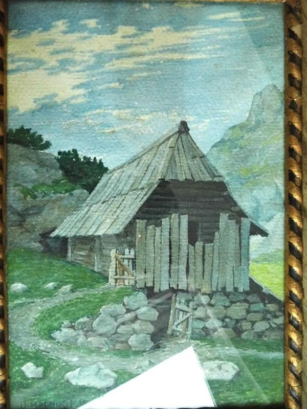 Antique Watercolor Painting Landscape Cottage House Wooden Gold Black Frame under Glass Primitive Farmhouse Rustic Wall Hanging Decor