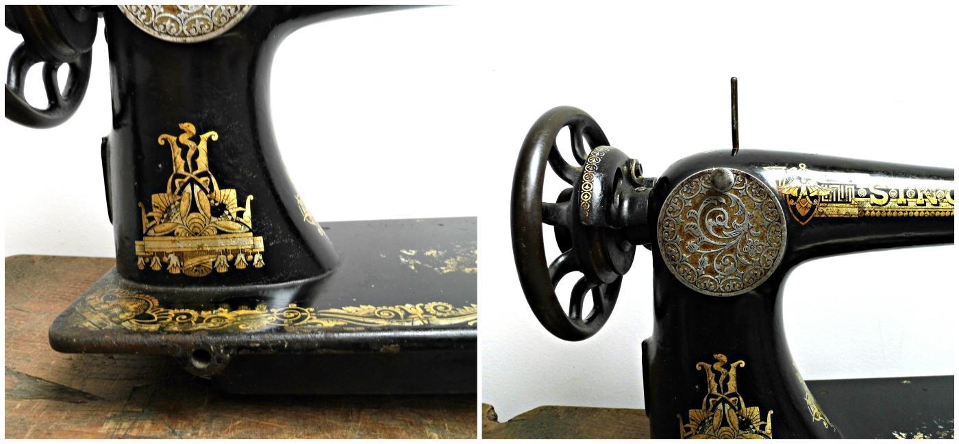 1910s Antique Singer Sewing Machine Head Unit Black Gold Vintage Treadle Hand Crank Sewing Display Case Collectible Rustic Decor Epsteam