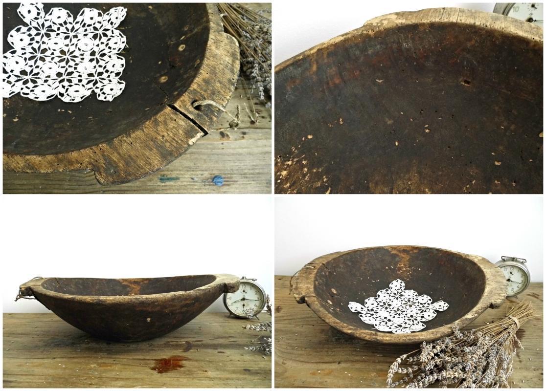 Antique Wooden Dough Bowl Primitive Proving Fruit Bread Bowl Handles Large Hand Carved Vintage Wood Trencher Rustic Kitchen Farmhouse Decor